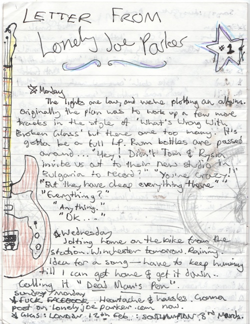 A scanned letter from Lonely Joe Parker, Feb 2011