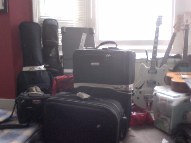A pile of music gear